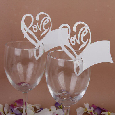 50 Love Heart Table Mark Wine Glass Name Place Card Wedding Party Decoration