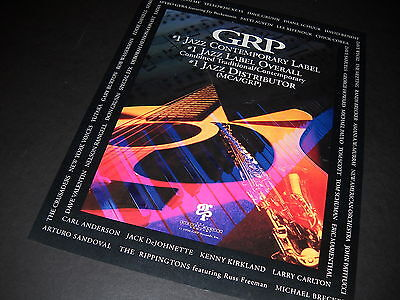 GRP #1 Jazz Label - Three Times 1990 PROMO DISPLAY AD with list of artists