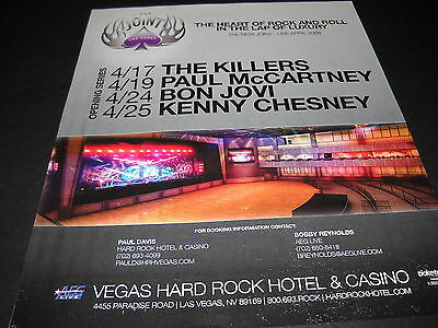 THE KILLERS McCartney BON JOVI Kenny Chesney VEGAS HARD ROCK Promo Display Ad