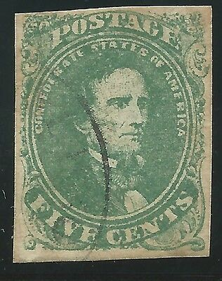 CSA Scott #1 Stone 2 Pos 9 Used Confederate Stamp Town CDS (not identified)