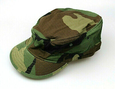 Genuine Us Army Issue Bdu Patrol Cap Hat Woodland Camouflage  Ripstop Usa Made