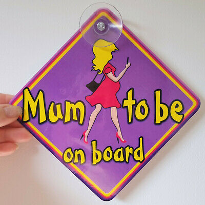 NEW ~ Purple & Pink ~ MUM TO BE Pregnant Lady ~ Baby on Board Car Window Sign