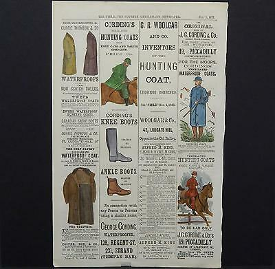 """Hunting Horse Riding Apparel """"The Field The Country Gentleman's Newspaper"""" c1877"""