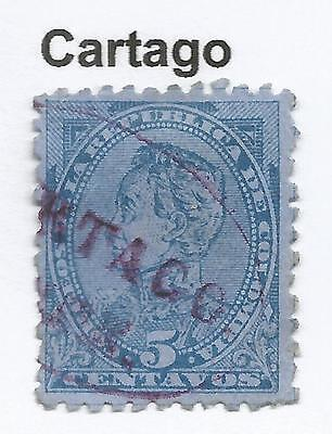 "COLOMBIA. 1886. 5c Blue on Blue Bolivar. SG: 124. Used ""Cartago"" Oval Cancel."