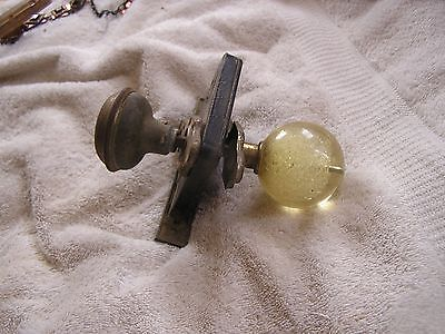 Antique Vintage Set of 2 Door Knobs Face Plates and Lock