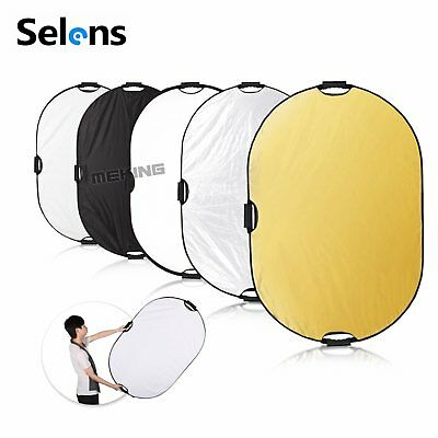 HOT 5 in 1 Photography Collapsible Light Reflector Diffuser With Handles 60x90cm