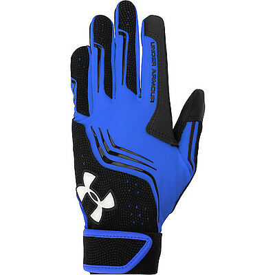 under armour boys youth baseball clean up v batting gloves heatgear blue large