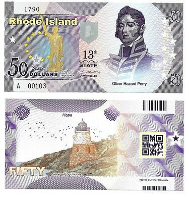 US STATES RHODE ISLAND 50 DOLLARS 2015 UNC POLYMER 13th STATE