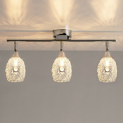 Modern Chrome 3 Way Ceiling Spotlight Bar Spot Light Fitting with Wire Shades
