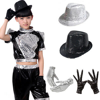Boy Girl Kid Perform Bling Sequin Prop Glove + Capone Party Club Dance Jazz Hat