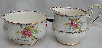 Royal Albert Petit Point Creamer Pitcher Sugar Bowl Roses England Bone China
