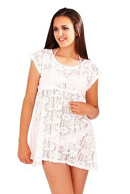 Womens Crochet Tunic Top Mini Dress Summer Beach Cover up Ladies Girls Size 6-16