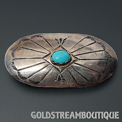 Spencer Navajo Sterling Silver Sleeping Beauty Turquoise Oval Brooch Pin #b2786