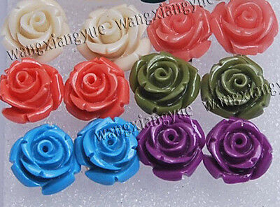 6Pairs 6color 12mm Sea Coral Hand Carved Flower Silver Stud Earrings AAA