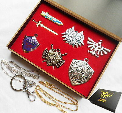 6PCS Legend of Zelda Link Sword Shield Links Necklace Keychain Metal New In Box