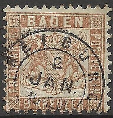 Allemand States-Baden. 1862. 9 K Yell-Brown. Fu