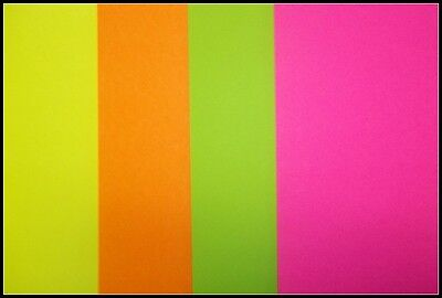A4  FLUORO COLOURED PAPER x 20  - 4 COLOURS - PERFECT FOR CARD INSERTS