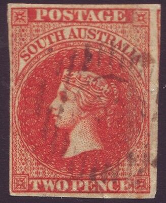 SOUTH AUSTRALIA 2d RED QV IMPERF (ASC 2) 4 MARGINS - 3mm repaired tear at base