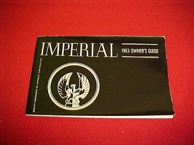 1963 Original Nos Chrysler Imperial Owners Manual Service Guide Book 63 Glovebox