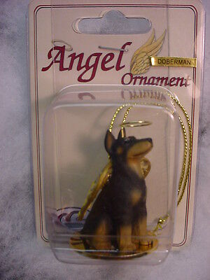DOBERMAN PINSCHER black dog ANGEL ORNAMENT Figurine NEW Christmas puppy CROPPED