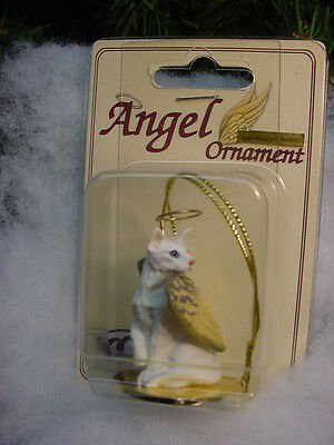 WHITE Kitty CAT ANGEL Ornament Pet Figurine Statue ORIENTAL kitten NEW Christmas