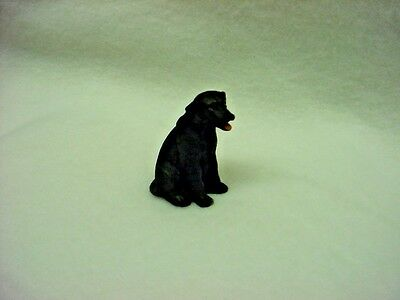 BLACK LAB puppy TiNY DOG Figurine HAND PAINTED MINIATURE Labrador Mini Statue