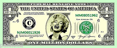 *MARILYN MONROE* 1 Million Dollars Novelty paper banknote (2 banknotes)