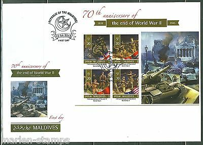 MALDIVES  2015  70th ANNIVERSARY OF THE END OF WORLD WAR II  SHT FIRST DAY COVER