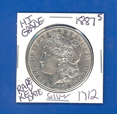1887 S MORGAN SILVER DOLLAR COIN #1712 $HI-GRADE$GENUINE US MINT$RARE KEY DATE