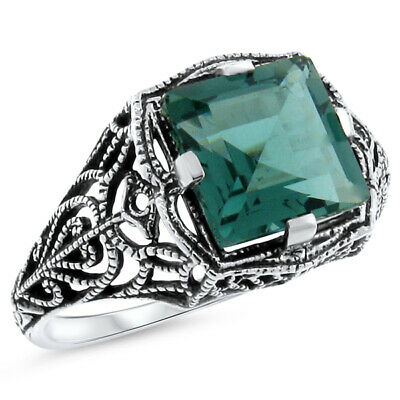 3.5 Ct Green Lab Amethyst Antique Style .925 Sterling Silver Ring,          #537