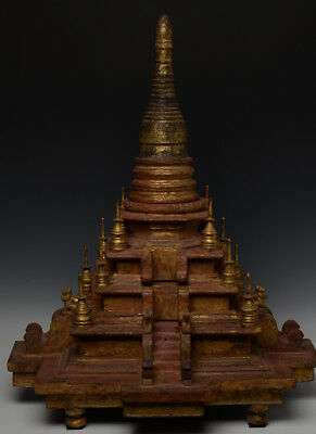 19th Century, Mandalay, Antique Burmese Wooden Pagoda with Gilded Gold