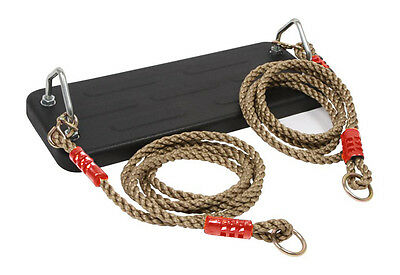 Deluxe Heavy Duty Solid Rubber Rope Swing Seat with Polyhemp Ropes Outdoor Tree