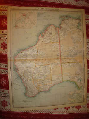 Huge Gorgeous Antique 1922 West Western Australia Perth Albany Times Atlas Map N