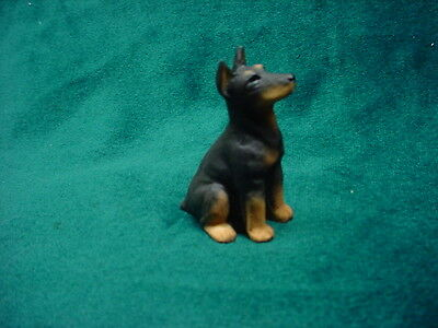 DOBERMAN PINSCHER black puppy TiNY DOG Figurine HAND PAINTED MINIATURE Statue