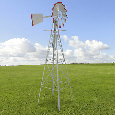 8' Windmill Ornamental Garden Weather Vane Weather Resistant Silver and Red