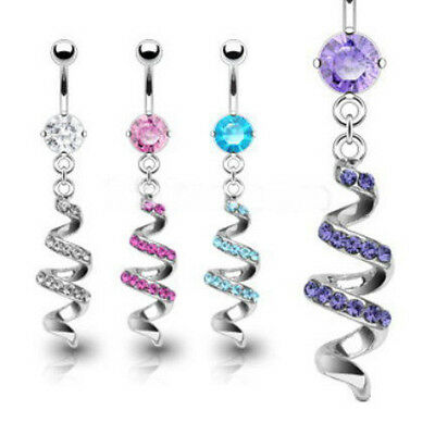 B#206 - 4pc Gem Paved Swirl Spiral Dangle Belly Rings Navel Naval Wholesale Lot