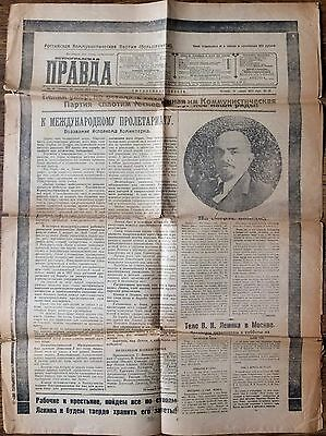 24.01.1924 Russia Petrograd Newspaper LENIN DIED Special Issue