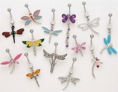 10pc Dragonfly Dangle Mix Belly Rings Navel naval Wholesale Lot (B162)