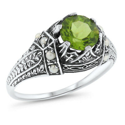 Genuine Peridot & Seed Pearl Antique Design .925 Sterling Silver Ring,      #552