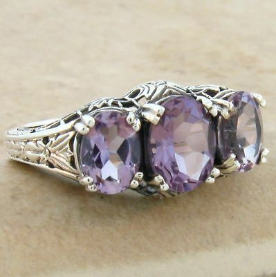Genuine Brazilian Amethyst .925 Sterling Silver Antique Style Ring,  #553