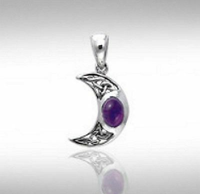Celtic Goddess Crescent Blue Moon Sterling Silver Amethyst Pendant #TPD421AM