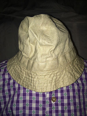 BROOKS BROTHERS BEIGE 100% LINEN BUCKET STYLE HAT MADE IN ITALY SIZE LARGE