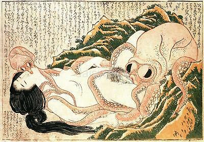 The Dream of The Fisherman's Wife 1814 Japan Octopus by Hokusai 7x5 Inch Print