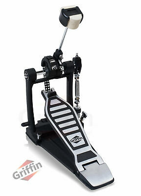 Bass Drum Pedal - Griffin Single Kick Foot Percussion Hardware Double Chain