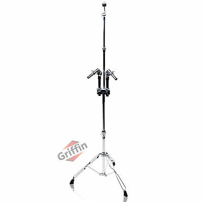 Double Tom Drum Stand with Cymbal Mount Arm Boom Duel Percussion Hardware