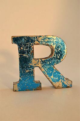 Fantastic Retro Vintage Style Blue 3D Metal Shop Sign Letter R Advertising Font