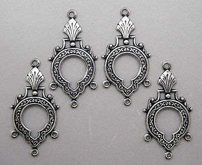 X1823 ANTIQUED SS/P FILIGREE 4 RING CHANDELIER COMPONENT - 24 Pc Lot (QTY DISC)