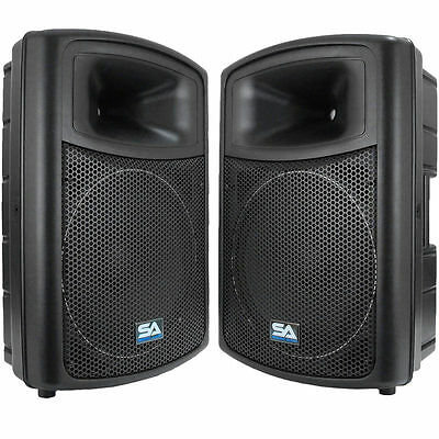 """2 POWERED 15"""" SEISMIC AUDIO PA SPEAKERS Active DJ Band"""