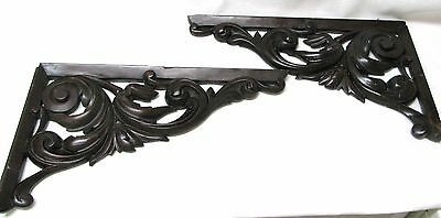 Pair Victorian Cornice Corner Pediments Ornate Architectural Salvage Carved Wood