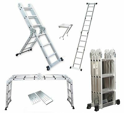 3.7M Multi Purpose Aluminium Extension Scaffold Ladder with Free Step Platforms
